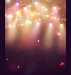 Garland lights on colorful background vector