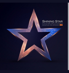 gold star sign with glitter and light effect vector image