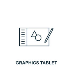 graphics tablet icon thin outline style design vector image