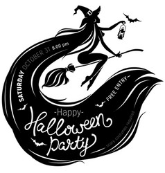 Halloween party poster with beautiful witch vector