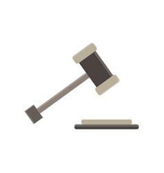 Hammer a judge gavel flat icon act bid bidder vector