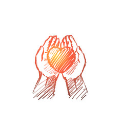 hand drawn heart in human palms vector image