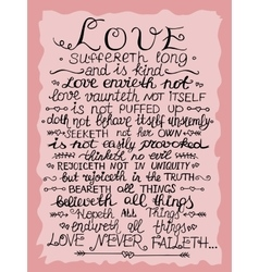 Hand lettering Love never fails from Corinthians vector