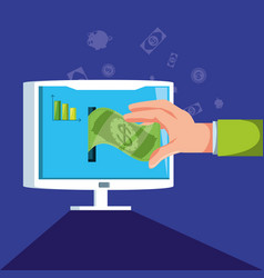 hand with monitor and set icons economy finance vector image