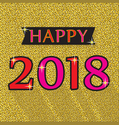 happy 2018 red and pink emblem on golg background vector image