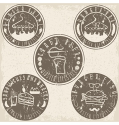 Hipster style food labels grunge vintage set vector