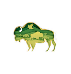 large buffalo silhouette with prairie landscape vector image