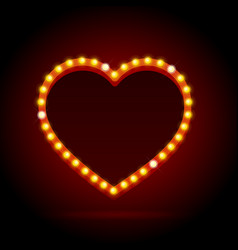 Light bulbs vintage neon glow heart frame vector