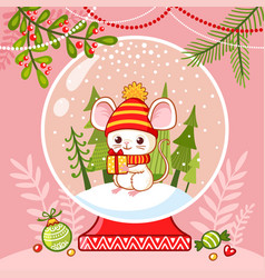 little mouse in a glass ball with a new year s vector image
