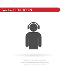 Man with headphones icon for web business vector