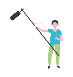 Man with microphone production movie film vector
