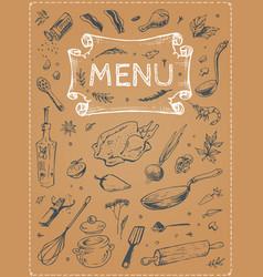 menu design food sketches on poster vector image