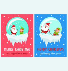 merry christmas jumping santa vector image