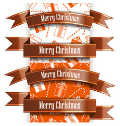 merry christmas ribbon set and seamless pattern vector image