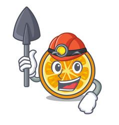 miner orange mascot cartoon style vector image