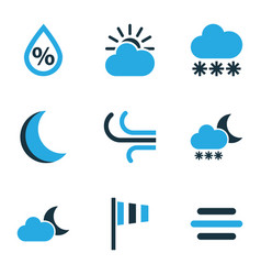 Nature colored icons set collection of wind vector