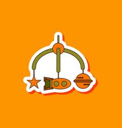 Paper sticker on stylish background kids toy vector