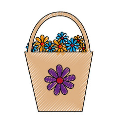 plastic pot with flowers vector image