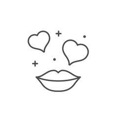 Romantic kiss line outline icon vector