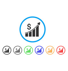 sales growth bar chart rounded icon vector image