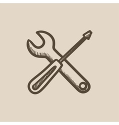 Screwdriver and wrench tools sketch icon vector