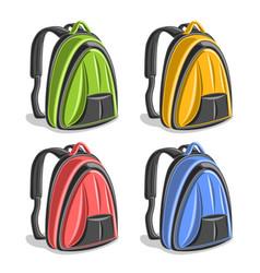 set colorful hiking backpacks vector image