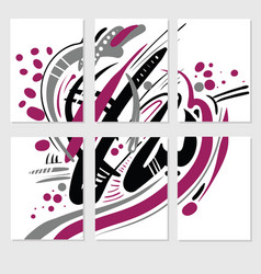 Set of 6 templates from one abstract picture hand vector