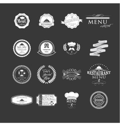 Set of badges and labels elements for restaurant vector image