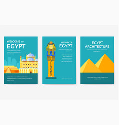 set of egypt country ornament travel tour concept vector image