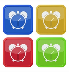 set of four square icons with alarm clock vector image