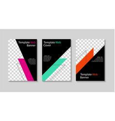 set social media templates design cover for vector image