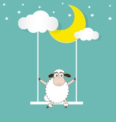 Sheep Swinging On a Moon and Cloud vector image