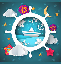 Ship leaf boat flower moon cloud vector