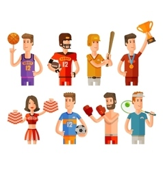 Sport and athletes icons set vector