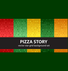 Star pattern set pizza story seamless vector