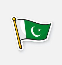 Sticker flag pakistan on flagstaff vector