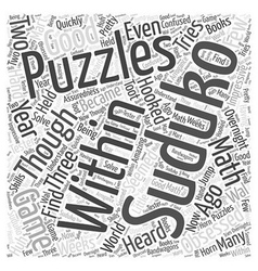 Suduko puzzles Word Cloud Concept vector
