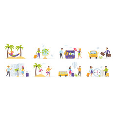 summer holidays set with people characters vector image