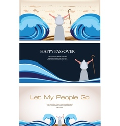Three banners passover jewish holiday vector