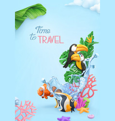 Time to travel background 3d realistic tropical vector