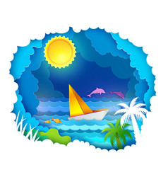 tropical sea with sun vector image