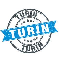 Turin blue round grunge vintage ribbon stamp vector