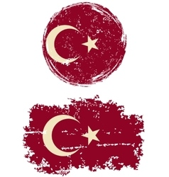 Turkish round and square grunge flags vector