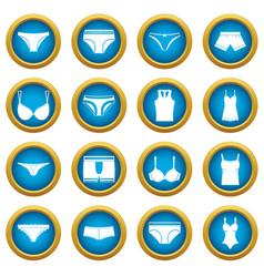 underwear items icons blue circle set vector image