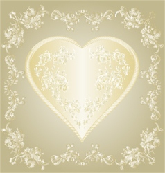 Valentines gold Heart and silver ornaments vintage vector