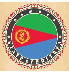 Vintage label cards of Eritrea flag vector image