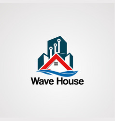 wave house logo with techno building touch vector image