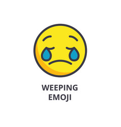 Weeping emoji emoji line icon sign vector