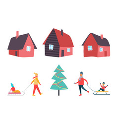 winter activities people and houses set vector image