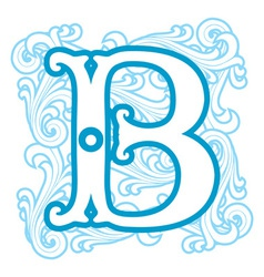 Winter vintage letter B vector